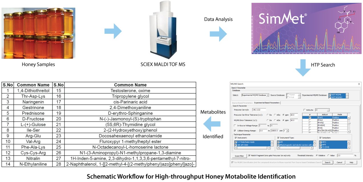 Schematic Workflow for High-throughput Honey Motabolite Identification